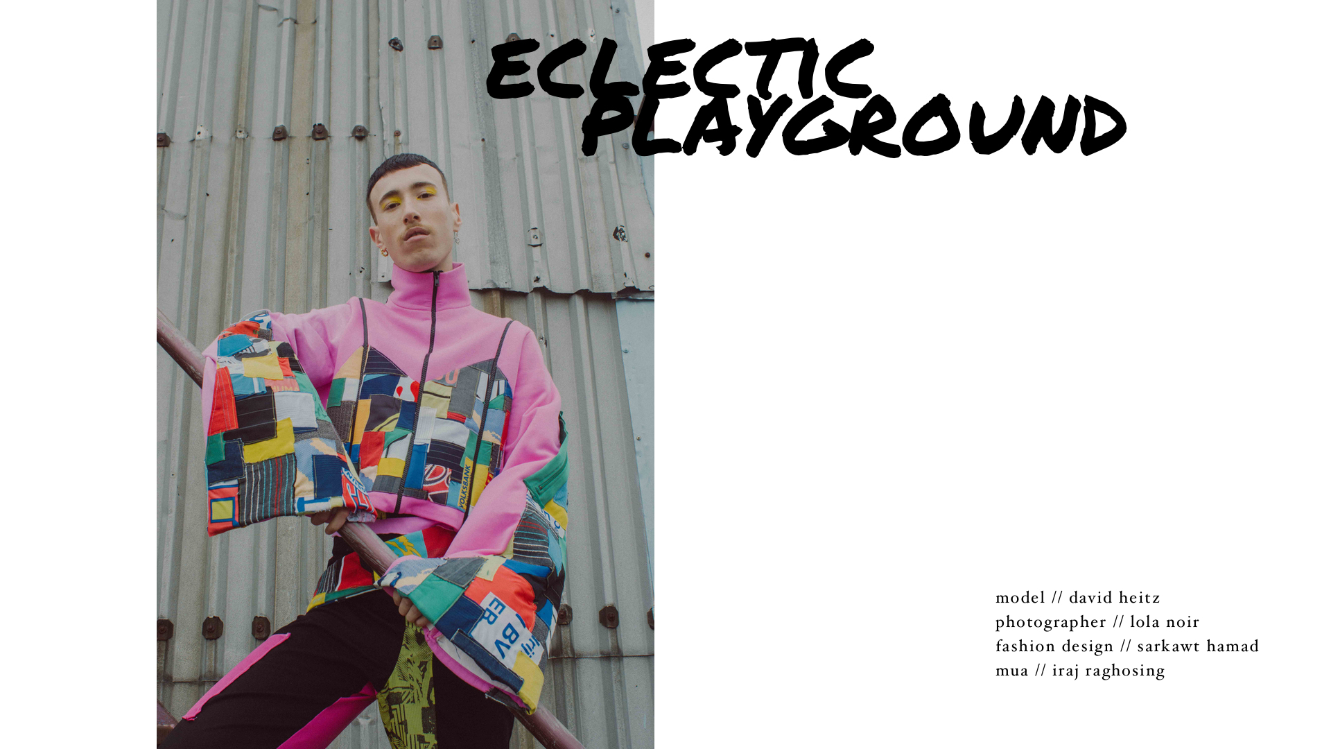 "fashion editorial ""eclectic playground"", photography by lola noir, fashion design by sarkawt hamad, mua by iraj raghosing, model david heitz"
