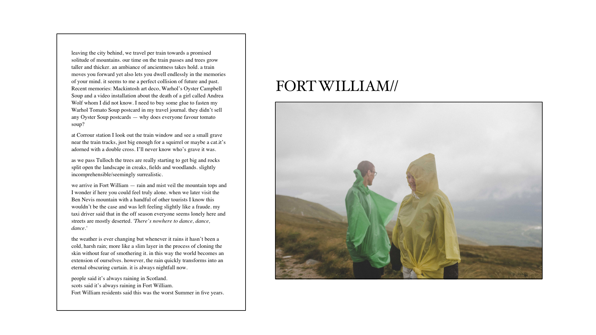 Travelogue Fort William - Lola Noir