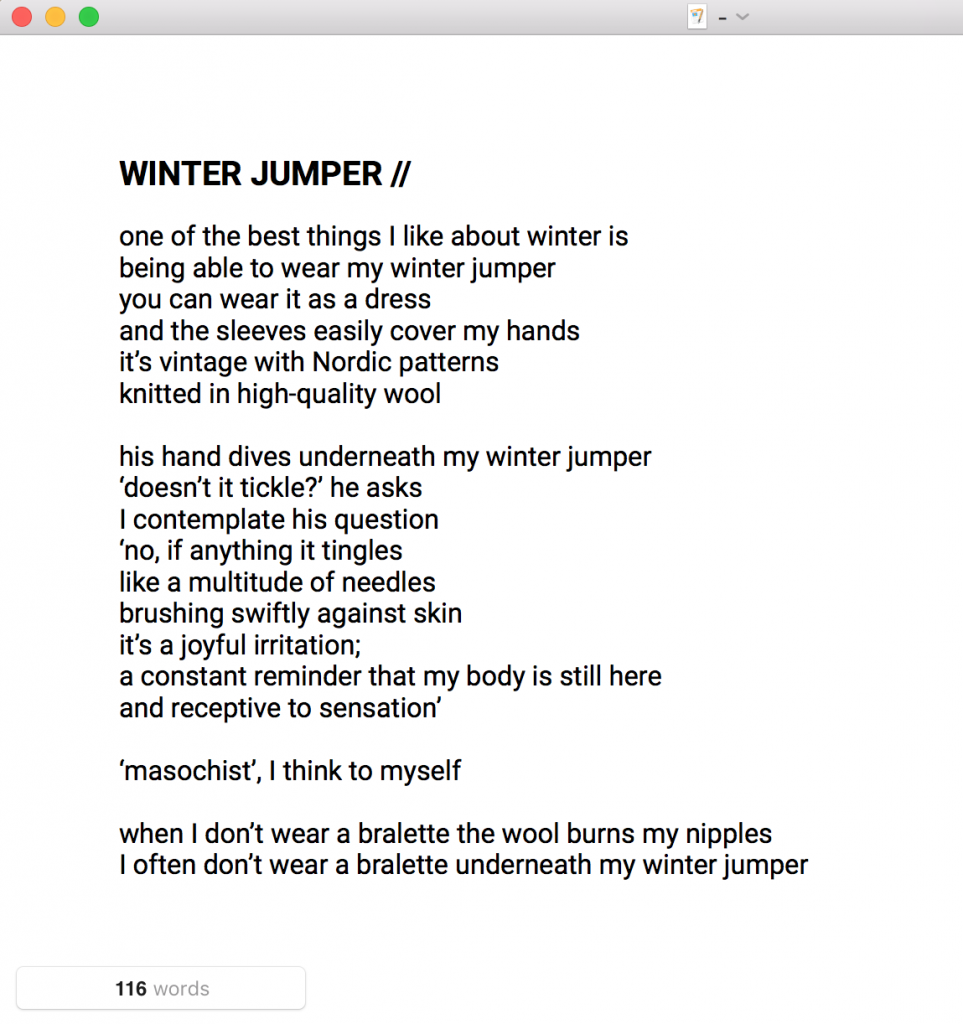 Winter Jumper poems by Lola Noir